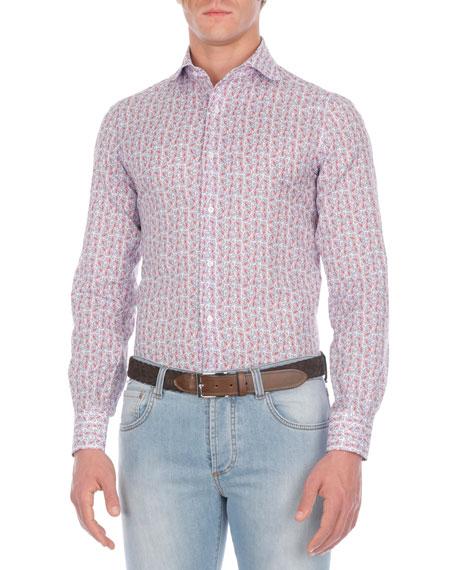 Isaia Floral-Print Cotton Sport Shirt