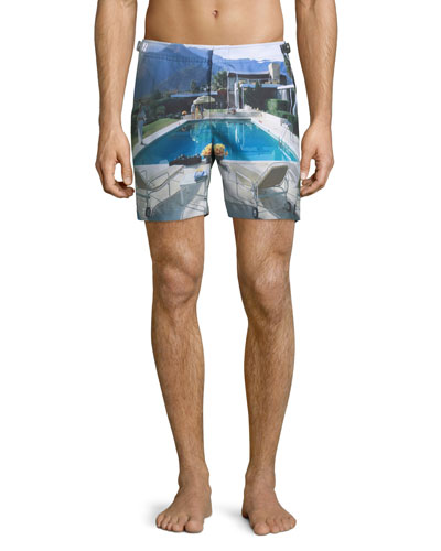 Bulldog Photographic Poolside Printed Swim Trunks  Multi