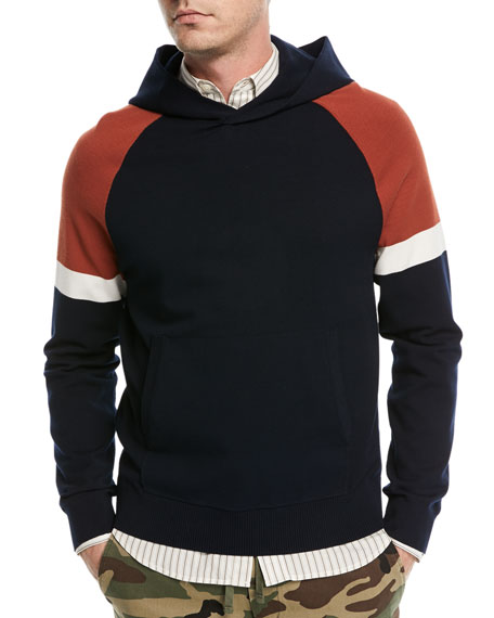 Vince Colorblock Pullover Sweatshirt w/ Hood and Matching