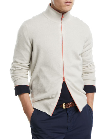 Contrast Zip-Front Cashmere Sweater