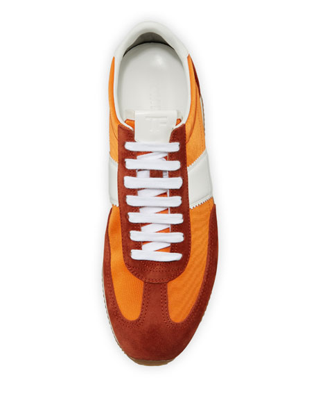Image 3 of 5: Men's Suede-Trim Mesh-Upper Low-Top Sneakers