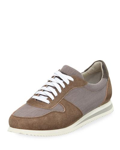 Men's Suede-Trim Trainer Sneakers