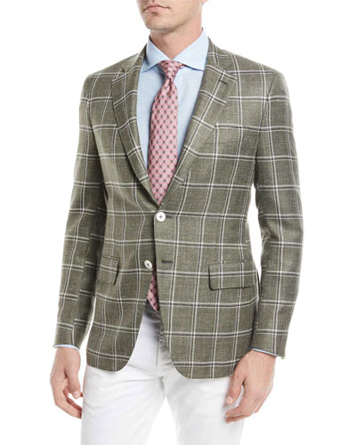 Windowpane Twill Two-Button Jacket