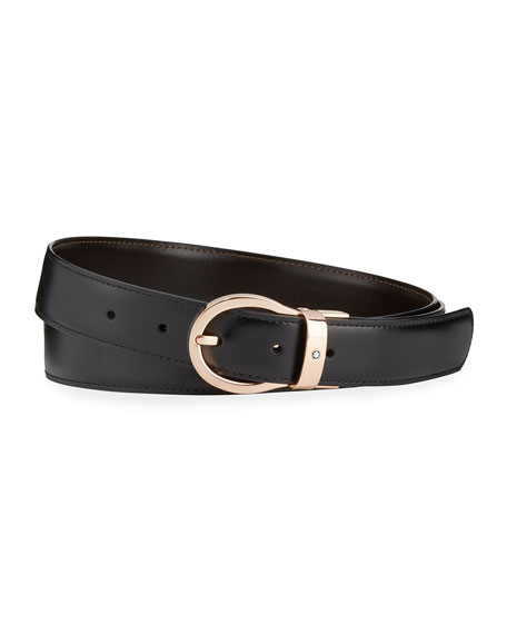 Image 1 of 2: Montblanc Men's Oval-Buckle Reversible Leather Belt