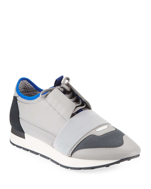 0d2febad89edc Balenciaga Men's Mixed Knit Lace-Up Sneakers, Gray/Black | Neiman Marcus
