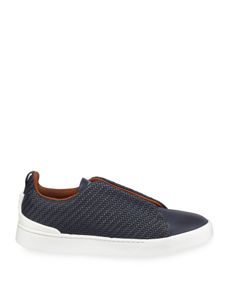 Ermenegildo Zegna Men's Couture Triple-Stitch Pelle Tessuta Leather Low-Top Sneakers, Navy
