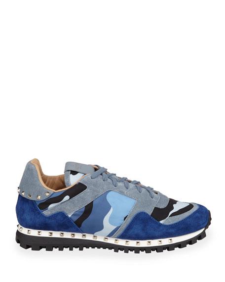Valentino Garavani Men's Rockrunner Camo Trainer Sneakers