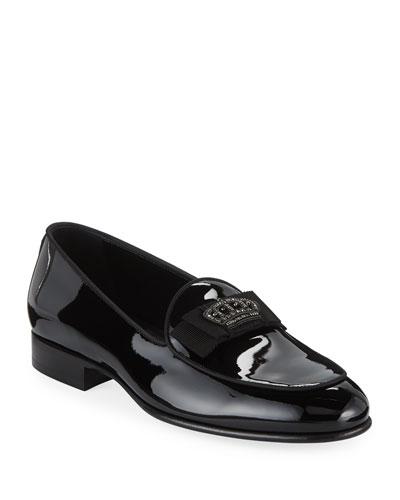 Men's Patent Leather Crown-Applique Loafer