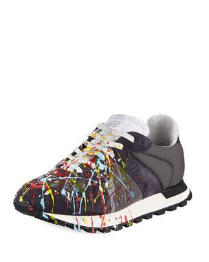 f170025697 Maison Margiela Men s Replica Paint-Splatter Suede-Trim Running Sneakers