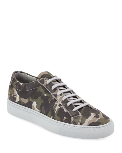 Men's Achilles Camo Suede Low-Top Sneakers  Gray