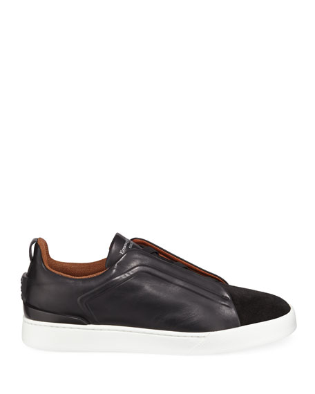 Image 3 of 3: Men's Triple-Stitch Leather/Suede Low-Top Sneakers