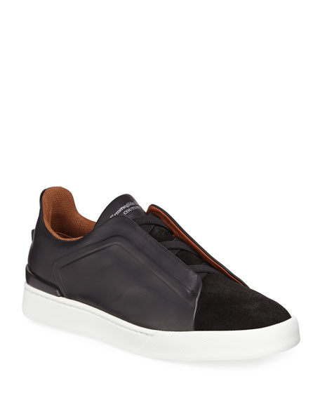 Image 1 of 3: Men's Triple-Stitch Leather/Suede Low-Top Sneakers