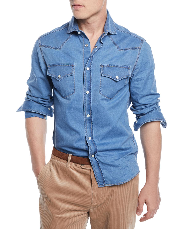 0b8464940ce4 Brunello Cucinelli Men's Western-Style Denim Shirt   Neiman Marcus