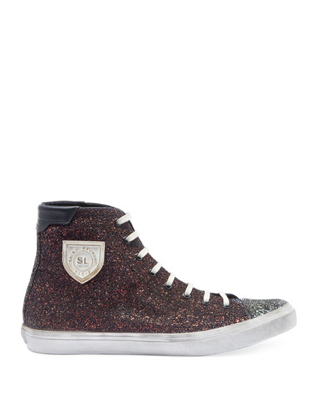 Image 2 of 3: Men's Bedford Solid Glitter High-Top Sneakers