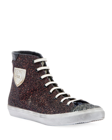 Image 1 of 3: Men's Bedford Solid Glitter High-Top Sneakers