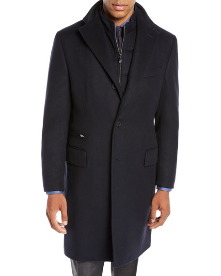 Corneliani Men's ID Wool Top Coat, Navy