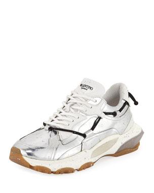 980dbaf6ca69 Valentino Garavani Men's Speckled Metallic-Leather Dad Sneakers