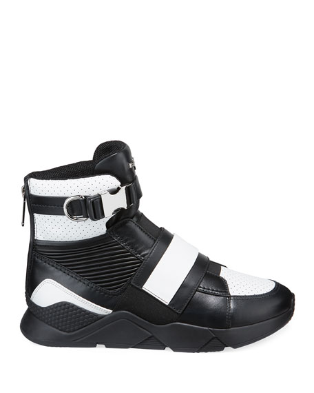 Balmain Men's High-Top Sneakers with Contrast Leather Trim