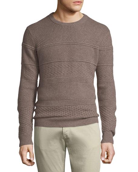 Neiman Marcus Men's Crewneck Textured Paneled Pullover Cashmere