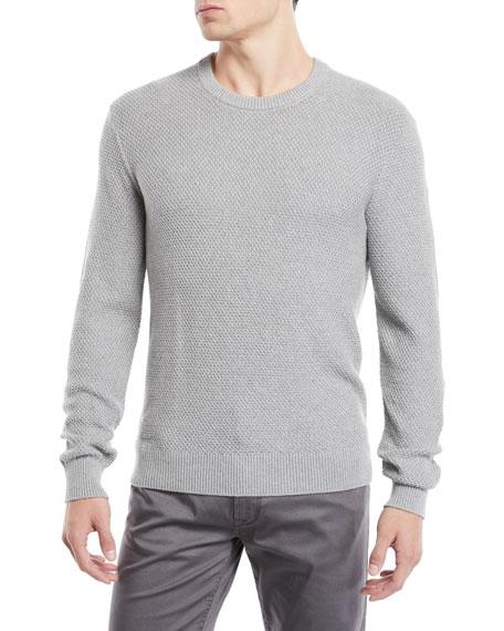 Neiman Marcus Men's Tuck-Stitch Organic Cotton Crewneck Sweater