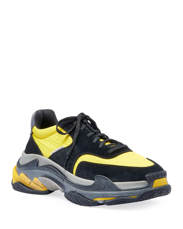Mesh \u0026 Leather Sneakers, Black/Yellow