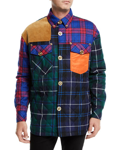 Men's Multi-Patch Button-Front Shirt Jacket w/ Embossed Buttons