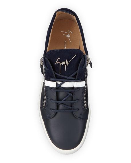 Giuseppe Zanotti Men's Mixed-Media Double-Zip Low-Top Sneakers