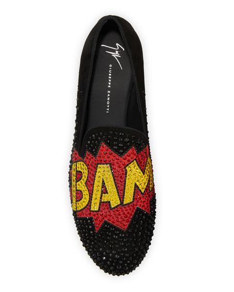 Giuseppe Zanotti Men's Bam Graphic Studded Formal Slippers