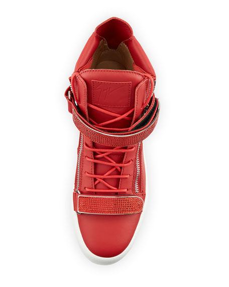 Giuseppe Zanotti Men's Double Nailhead-Bar High-Top Leather Sneakers