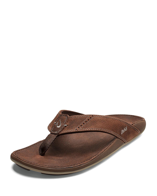 69929f32b Olukai Men s Nui Faux-Leather Flip-Flop Sandals