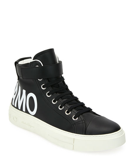 Salvatore Ferragamo Men's Ayr 2 High-Top Leather Sneakers w/ Grip-Strap Ankle