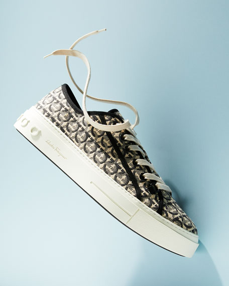 Salvatore Ferragamo Men's Anson Gancini-Print Canvas Low-Top Sneakers