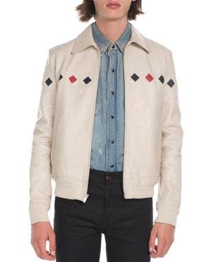 32569d81254 Saint Laurent Men's Teddy Diamond-Detail Leather Jacket