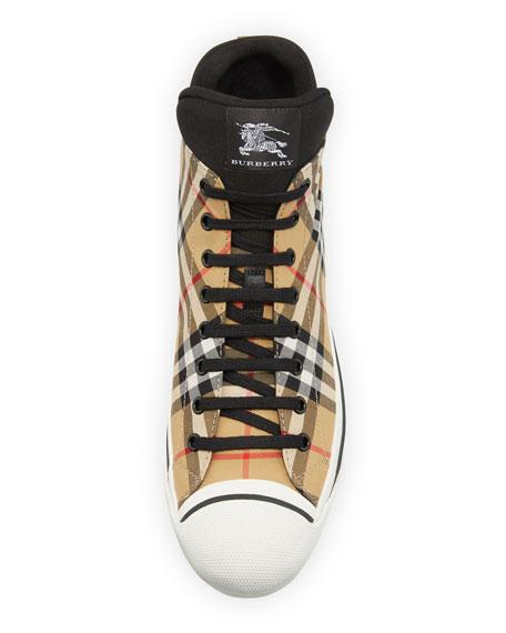 Burberry Men's Kilbourne Signature Check High-Top Sneakers