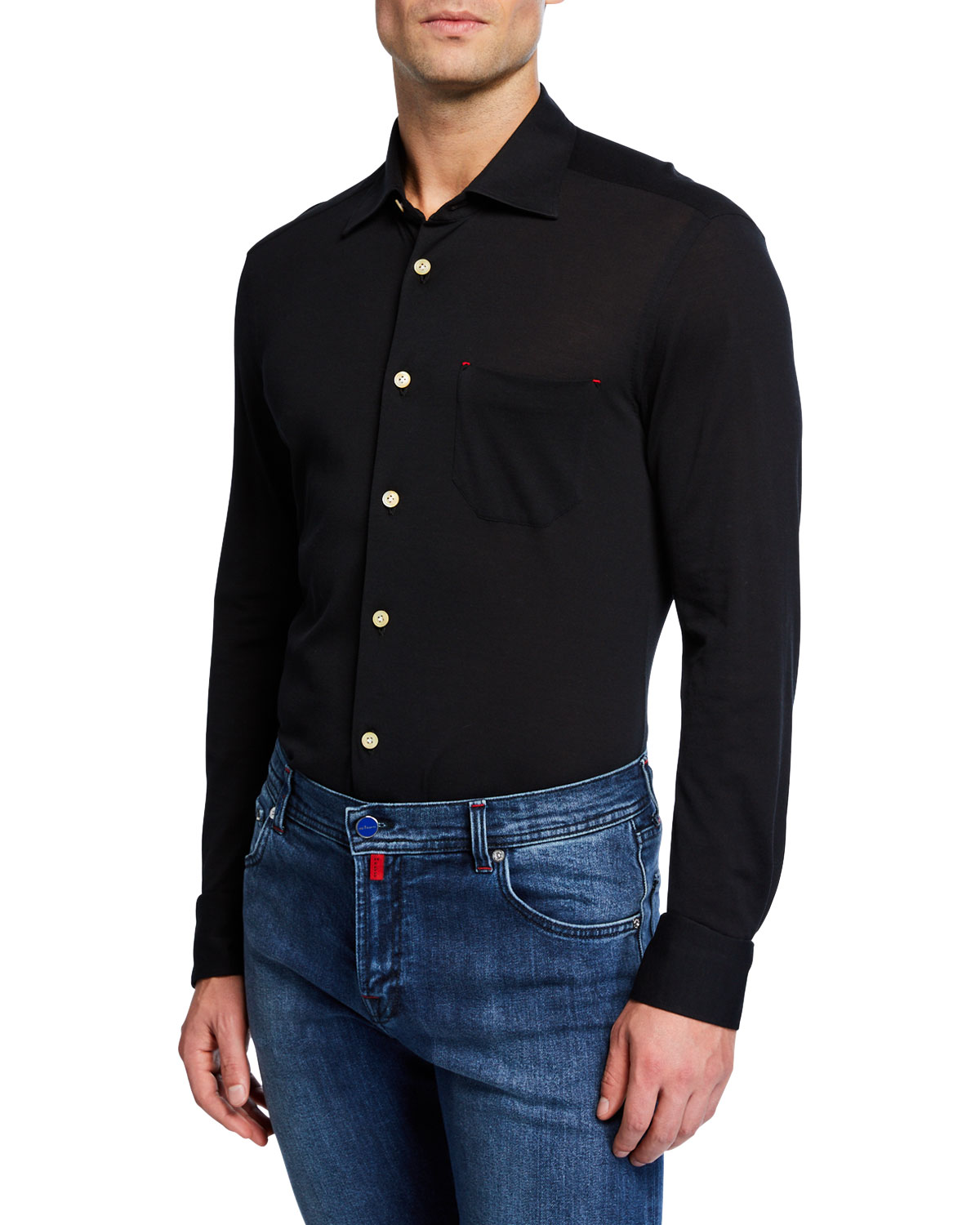 Image result for black dress shirt with jeans kiton