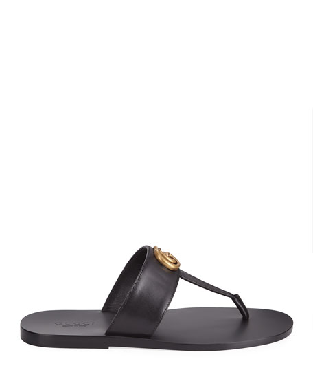 Gucci Men's GG-Stud Leather Thong Sandals