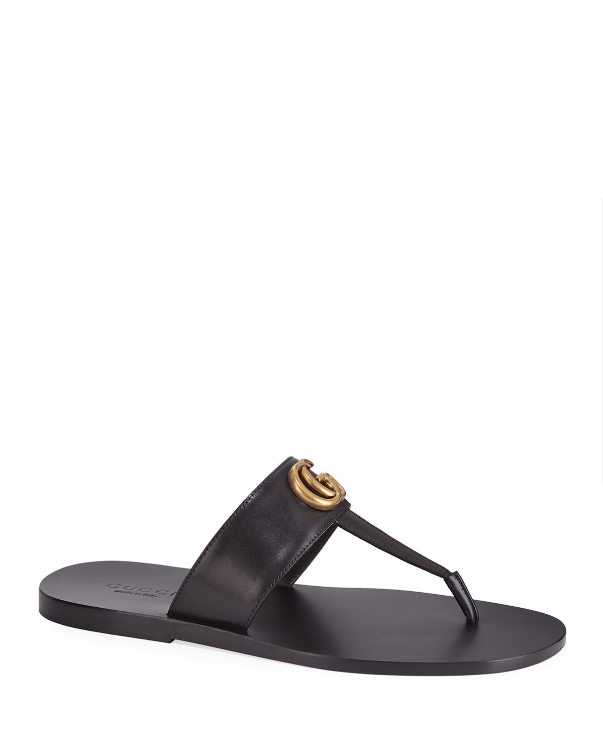 GG-Stud Leather Thong Sandals