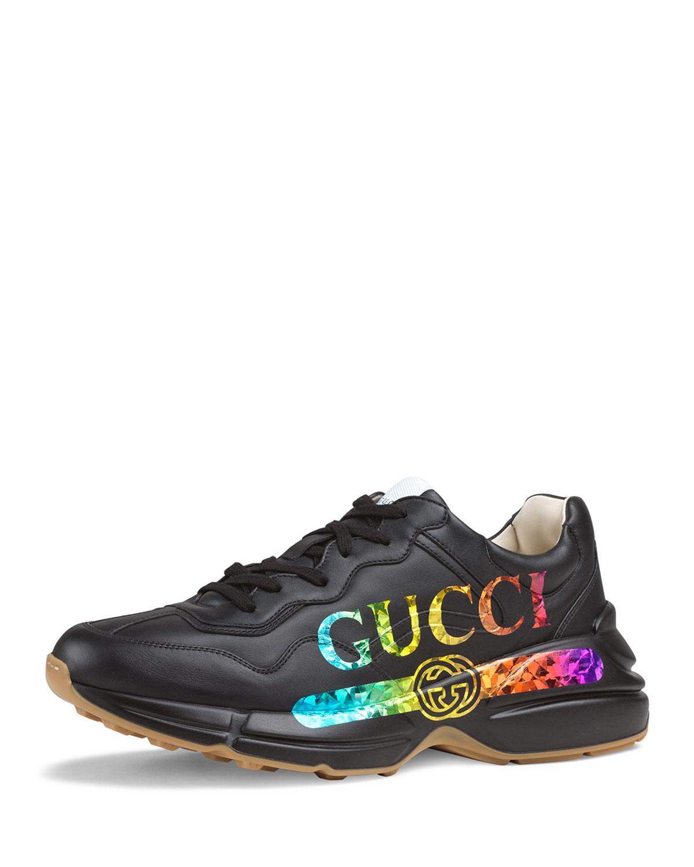b88e9896d Gucci Men's Rhyton Logo-Print Leather Sneaker | Neiman Marcus
