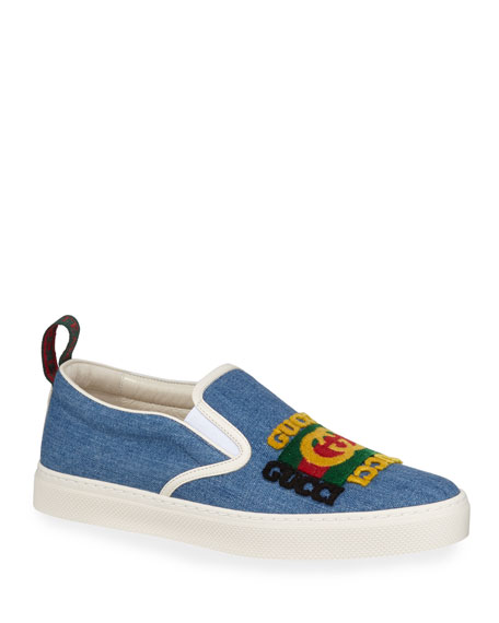 Gucci Men's Denim Slip-On Sneakers With Gucci Patch