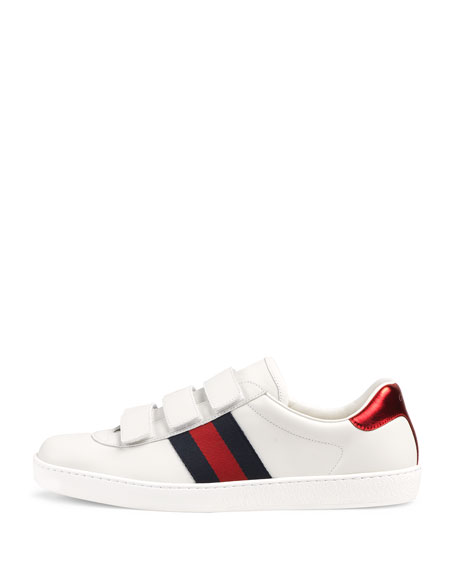 Gucci Men's Leather Grip-Strap Sneakers With Web