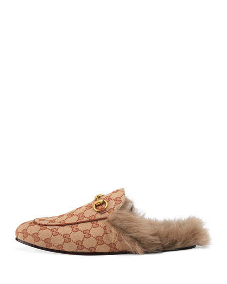 Gucci Men's Princetown Fur-Lined GG Canvas Slippers