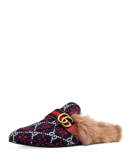 Gucci Men's Princetown Diamond Jacquard Slippers with Double G