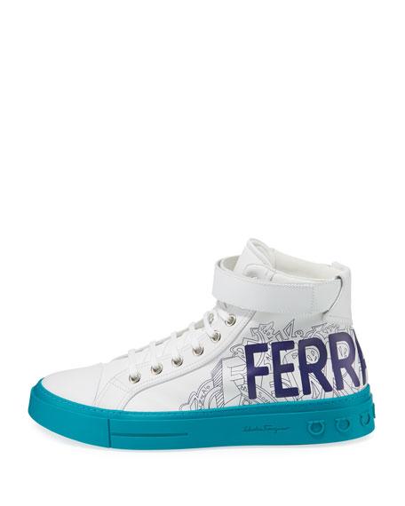 Salvatore Ferragamo Men's Ayr Logo Leather High-Top Sneakers