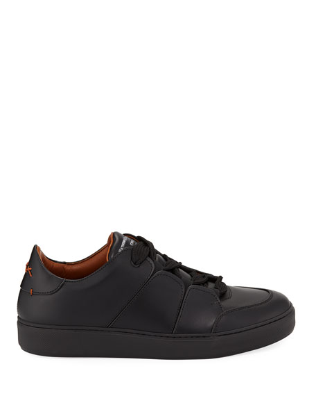 Ermenegildo Zegna Men's Tiziano Leather Low-Top Sneakers, Black