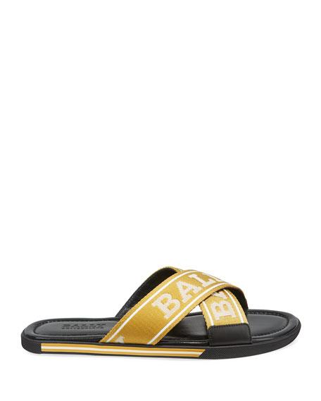 Bally Men's Logo Leather Slide Sandals
