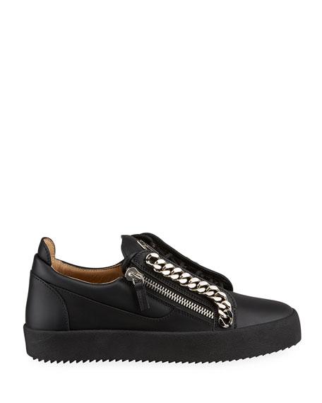 Giuseppe Zanotti Men's Curb-Chain Leather Sneakers