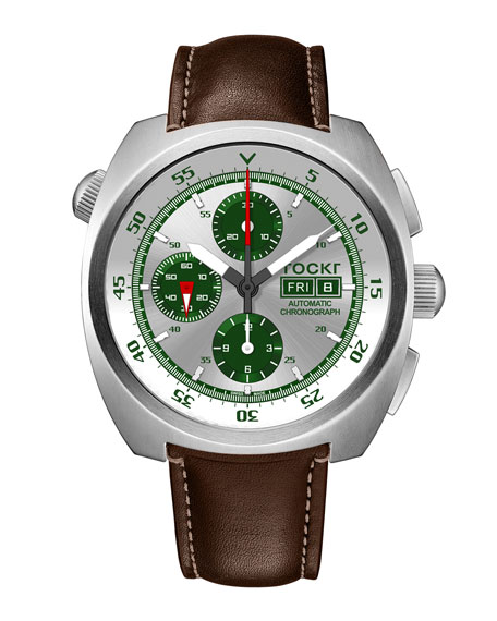 Tockr Watches Men's 45mm Air Defender Silverado Chronograph Watch with Brown Leather Strap