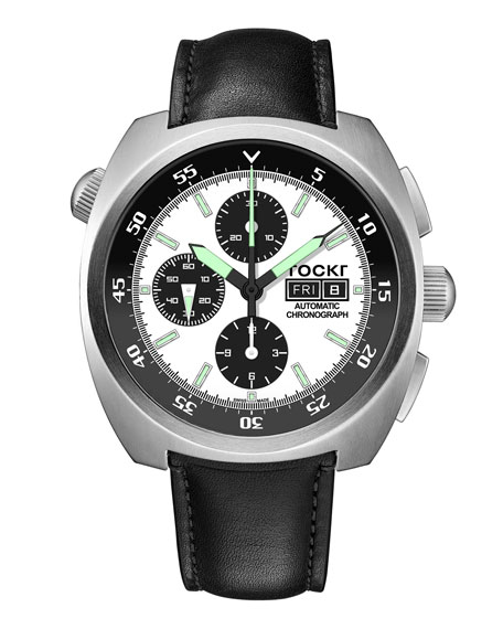Tockr Watches Men's 45mm Air Defender Panda Chronograph Watch with Leather Strap