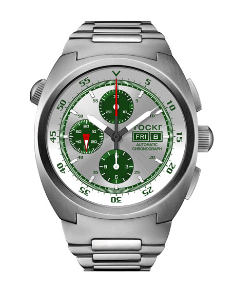 Tockr Watches Men's 45mm Air Defender Silverado Chronograph Watch with Bracelet, Green