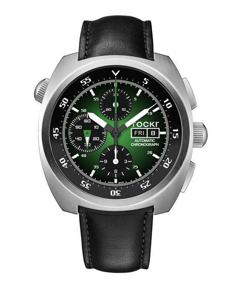 Tockr Watches Men's 45mm Air Defender Chronograph Watch, Green/Black